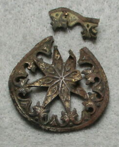 Civil War Relic Eight-Point Star Hat Plate, Thin Silver Plated Brass