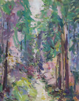 Art Oil Painting RM Mortensen Original Landscape Forest Trees Impressionism
