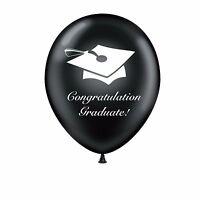 "Graduation 12"" Black Original Latex Balloons Congratulation Graduate"