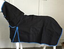 22OZ.BLACK/SKY UNLINED CANVAS COMBO HORSE RUG 6' 6
