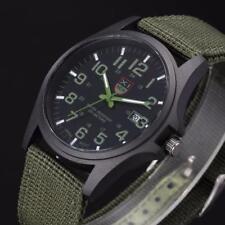 Military Men's Date Waterproof Canvas Strap Analog Quartz Sport Wrist Watches A