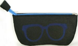 NEW Soft Strong Felt BLACK /BLUE Case with Zipper for all Sunglasses /Eyeglasses