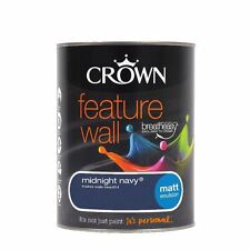 CROWN HOUSEHOLD FEATURE WALL DECORATING MATT EMULSION PAINT MIDNIGHT NAVY 1.25L