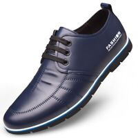 Men's Leather Casual Driving Shoes Splicing Oxfords Dress Work Moccasins Lace