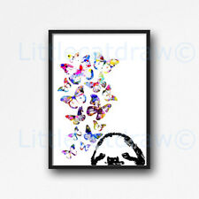 Sloth With Butterflies Watercolour Painting PRINT 5x7 Wall Art