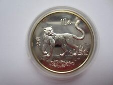 Münze Silber China Schneeleopard endangered wildlife 1992