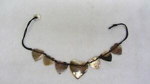 Heart Shaped Sea Shell Short NECKLACE CHOKER Tortoise Bronze Browns