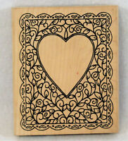 Alias Smith & Rowe LARGE Wood Mounted Rubber Stamp Floral Heart Frame V1-227 NEW