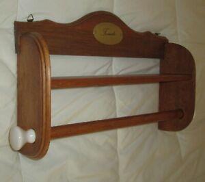 Vintage Wood Wall Hanging Shelf w/Towel/Quilt Display Rod