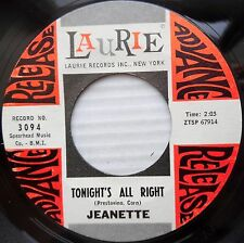 JEANETTE girl group popcorn PROMO 45 TONIGHT'S ALL RIGHT / THERE'S A GLEAM F1582