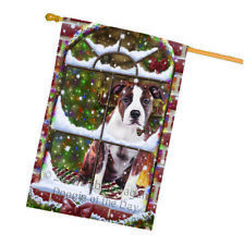 Christmas American Staffordshire Terrier Dog Sitting Window House Flag Flg53809