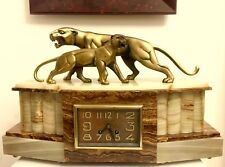 Rare Art Deco Clock Bronze Panther Sculpture By Hugues (signed)