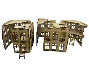 28mm Scale Ruins / Buildings. MDF Set of 5 (2 Floors) - for Warhammer/Tabletop