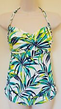 M&S Bandeau green mix Tankini Top Non Wired molded Cups Size 12 Eur 40 NEW