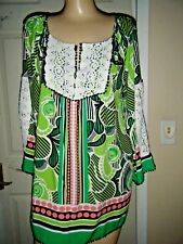 NWT CROWN & IVY GREEN,WHITE & CORAL WITH WHITE LACE 3/4  SLEEVE TOP SZ M $65.50