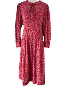 1980's Vintage Lanz Original Red Prairie Paisley Dress With Sailor Collar Size L