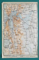 "SAN FRANCISCO & Environs California - 1909 MAP Baedeker 4 x 6"" (10 x 15,5 cm)"