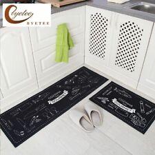 Non-Slip Kitchen Floor Mat Rubber Backing Doormat Runner Rug 2 Piece Set Option