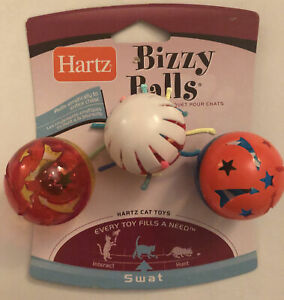 Bizzy Balls Toy For Cat By Hartz, 3 Toys 1 Package -New- Rolls To Entice Chase!!