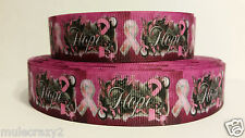 "Grosgrain Ribbon, Breast Cancer Awareness, ""Hope"" with Pink Ribbon, 1"" Wide"