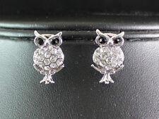 OWL CLEAR AUSTRIAN CRYSTAL RHINESTONE PIERCED EARS STUD EARRINGS E1589S SILVER