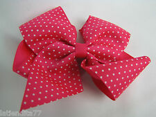 Large 5in. Hair Clip Pink Bow with White Dots Metal Clip NWT