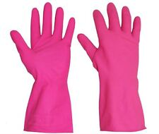 10 Pairs of Click 2000 Small Pink Washing up Gloves- Rubber Flocked