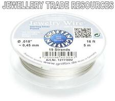 """GRIFFIN SILVER PLATED STEEL BEADING JEWELRY WIRE .018"""" / 0.45mm 16 FT 19 STRAND"""