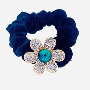 Flower Hair Rope Wrap Rhinestone Crystal Scrunchies Ponytail Holder Green F53