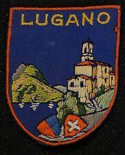 LUGANO Vintage Skiing Ski Patch Badge SWITZERLAND Resort Souvenir Travel Lapel