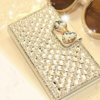 3D Bling Diamond Wallet Leather Stand Flip Case Cover For Samsung Galaxy Phones