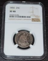 1856 25C Silver Seated Liberty Quarter Graded by NGC as XF 40