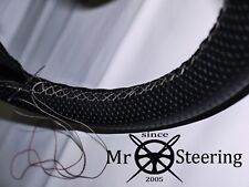 FOR TRIUMPH VITESSE PERFORATED LEATHER STEERING WHEEL COVER L GREY DOUBLE STITCH