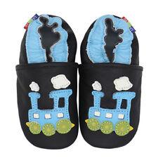 carozoo train blue black 4-5y C2 soft sole leather kids shoes