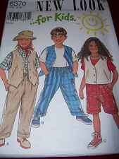 NEW LOOK #6370 - CHILD'S DRAWSTRING PANTS or SHORTS & BUTTON VEST PATTERN 3-8 uc