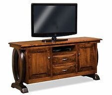 Amish Contemporary Saratoga TV Stand Solid Wood Console Cabinet Storage 72""