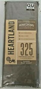HomeGrown Cotton Queen Grey Flat Sheet 325 Thread CT Percale Weave NEW
