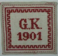 ANTIKES STICKMUSTERTUCH G. K. 1901 Kreuzstich ca. 12 x 12 cm