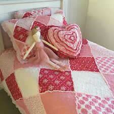 2 pce Shabby Chic Scarlet Linens n Things Single / King Single Bed Coverlet Set