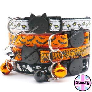 Spooky Halloween Cat Kitten Collar Safety  Adjustable Warning Bell Bat Ghost UK