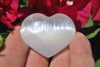 """MD 2"""" SELENITE POCKET PUFFY HEART Carving Healing Crystal Reiki - ZENERGY GEMS™"""