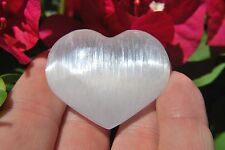 "MD 2"" SELENITE POCKET PUFFY HEART Carving Healing Crystal Reiki - ZENERGY GEMS™"