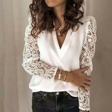 Women V-neck Lace Blouse Patchwork Long Sleeve White Office Ladies Blouses