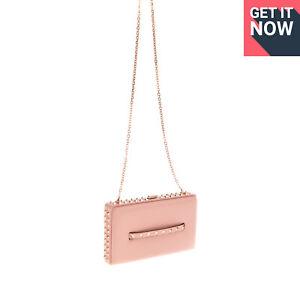 RRP €2315 VALENTINO GARAVANI Leather Clutch Bag Rockstuds Chain Strap Push Lock