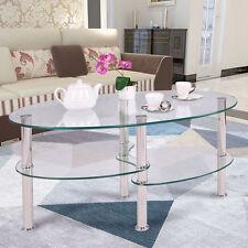 Tempered Clear/Black Glass Oval Side Coffee Table Shelf Chrome Base Living Room