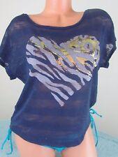 Purple Heart print Knit Casual Short sleeve blouse top shirt Sz L