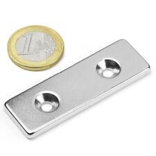 Super Magnete Solido in Neodimio 60x20x4 mm 14 Kg DOPPIO FORO SVASATO da avvitar