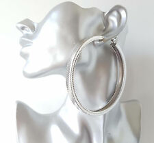 Gorgeous! HUGE! SILVER tone CHUNKY square patterned tube oversize hoop earrings