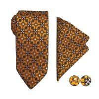 Tie Pocket Square Cufflinks Orange White Purple Set Hanky 100% Silk Wedding
