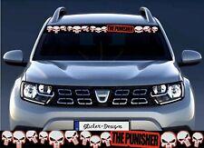 90cm!Aufkleber-Wetterfest Sonnenblende Punisher Skull Totenkopf Rot/schwarz P318